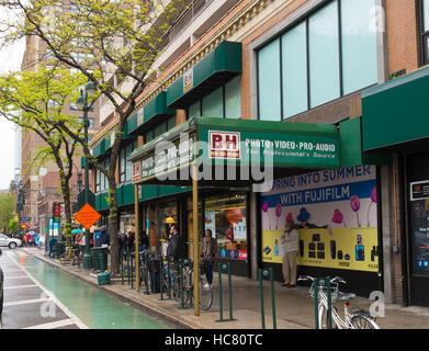 NEW YORK CITY - MAY 1, 2016: Exterior of the wellknown B&H photo video store in New York City. It is the largest non-chain photo and video equipment s Stock Photo