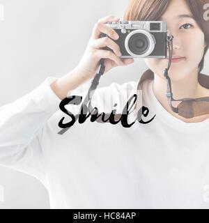 Be happy Smile Slow Life Enjoy Concept - Stock Photo