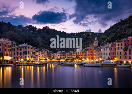Twilight over harbor town of Portofino, Liguria, Italy - Stock Photo