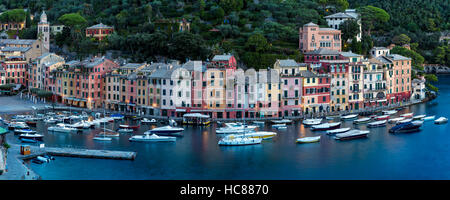 Early morning over Harbor town of Portofino, Liguria, Italy - Stock Photo