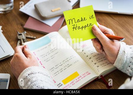 Make It Happen Diary Concept - Stock Photo