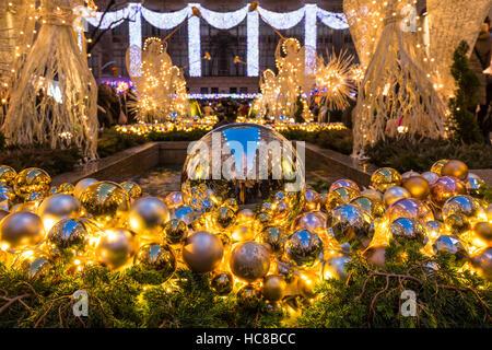 Rockefeller Center Christmas season decorations. Midtown Manhattan, New York City - Stock Photo