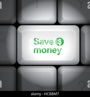 message on keyboard enter key, for save money concepts - Stock Photo