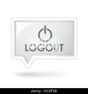 logout icon on a speech bubble over white - Stock Photo
