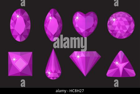 Purple gems set. Jewelry, crystals collection isolated on black background. Precious stones of different shapes, - Stock Photo
