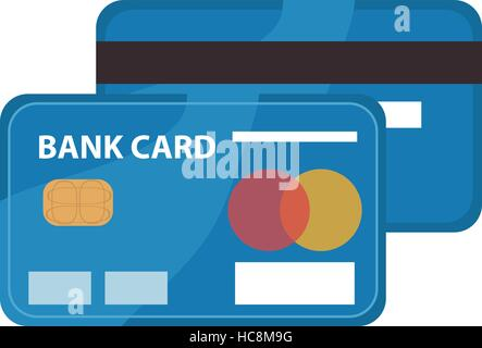 Credit card icon, flat design. Bankcard isolated on white background. Vector illustration, clip art - Stock Photo