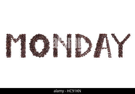 Monday text sign made from coffee beans for cafe - Stock Photo