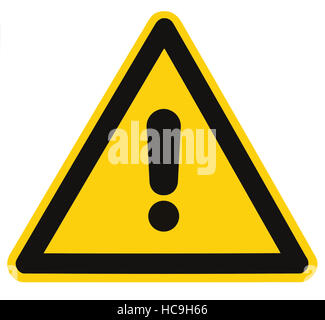 Blank Other Danger And Hazard Sign Label, isolated, black general warning triangle over yellow, large macro - Stock Photo