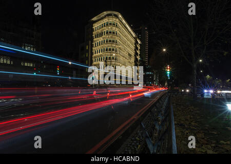 Light trails on the streets of London. - Stock Photo