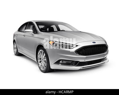 Silver 2017 Ford Fusion mid-size sedan car isolated on white background with clipping path - Stock Photo