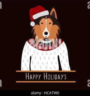 Greeting background with Rough Collie. A dog with a hat of Santa Claus. Flat design. Pet. Cute doggie. Cartoon character - Stock Photo