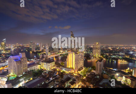 Skyline view light in Bangkok - Stock Photo