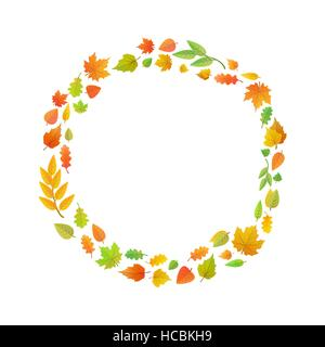 A wreath of autumn leaves. Cute leaves arranged in ring shape isolated on white - Stock Photo