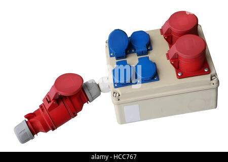 Power electric three-phase blue and red sockets for street construction devices and mashinery. Isolated on white - Stock Photo