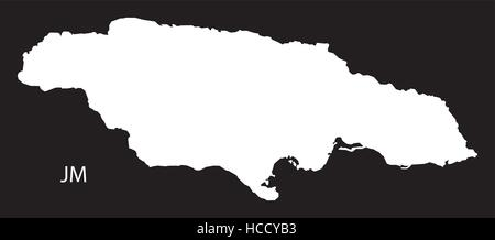 Jamaica Map black country illustration - Stock Photo