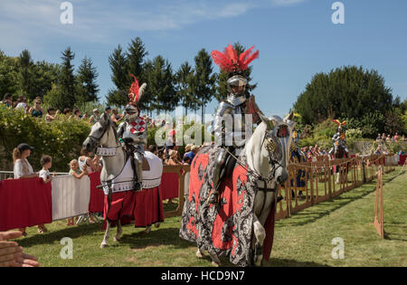 Jousting at the Chateau du Rivau, mounted knights in full armour - Stock Photo