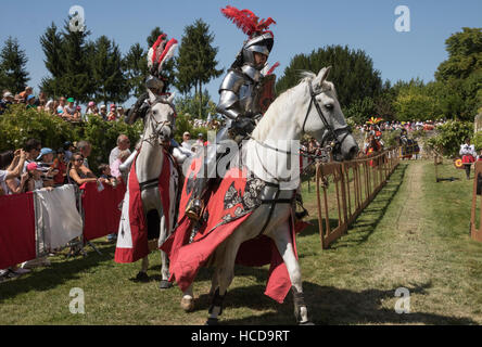 Jousting at Le Rivau, mounted knights in full armour prepare for the joust - Stock Photo