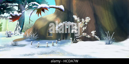 Forest Gnome's House in Winter.  Panorama View. Handmade illustration in a classic cartoon style. - Stock Photo