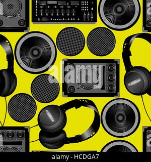Sound and subwoofer speakers seamless pattern . - Stock Photo