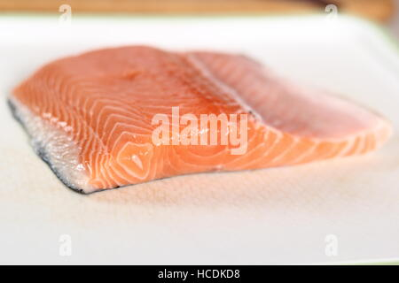 Fresh Salmon Fillet. Making Salmon in Puff Pastry Series. - Stock Photo