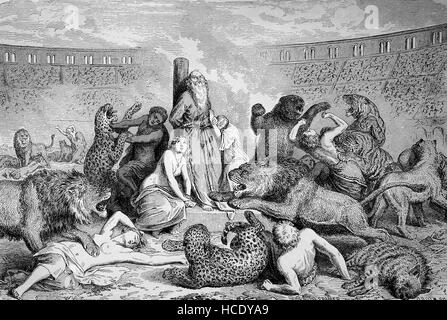 Persecution of Christians, Anti-Christian policies in the Roman Empire, christs as victims of predators in the circus - Stock Photo
