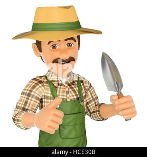 3d working people illustration. Gardener with a small spade. Isolated white background. - Stock Photo