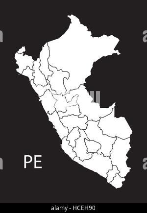 Peru regions Map black illustration - Stock Photo
