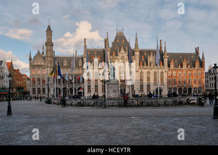 Provinciaal Hof (Provincial Court) Bruges, Belgium. Neogothic building on the Markt, (Market Place). started in - Stock Photo