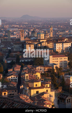 Bergamo, Italy. Sunset view from San Vigilio. - Stock Photo