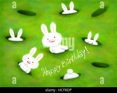 digital illustration with cute fluffy bunnies - Stock Photo