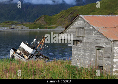 Captains Bay, Unalaska Island, Aleutian Islands, Alaska, USA - Stock Photo