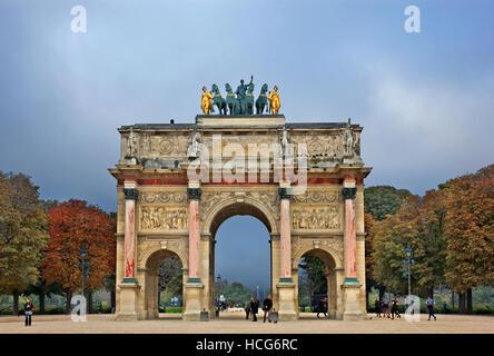 The Arc de Triomphe du Carrousel  a triumphal arch in  Place du Carrousel, Paris, France. - Stock Photo