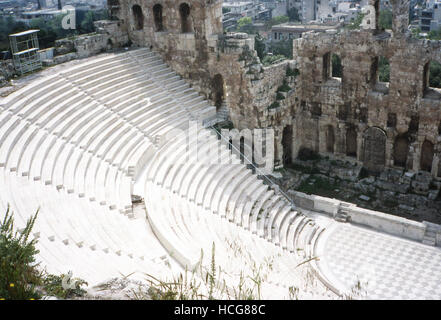 This photo, taken around 1990, shows a frontview of the Acropolis Theater in Athens, Greece. The theater is known - Stock Photo