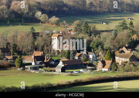 English Landscape overlooking the Hamlet of Fingest in the Chiltern Hills - Stock Photo