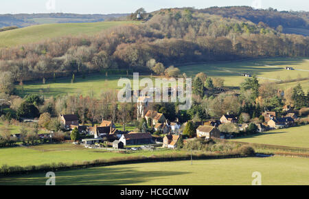 English Landscape overlooking the Hamlet of Fingest  in the Chiltern Hills and windmill on the hill - Stock Photo