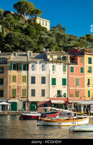 Early morning in the tiny harbor town of Portofino, Liguria, Italy - Stock Photo
