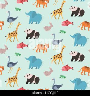 Seamless pattern of animal set on blue background in flat design style - Stock Photo