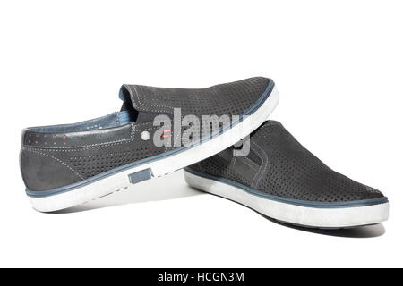 The photo shows men's running shoes - Stock Photo