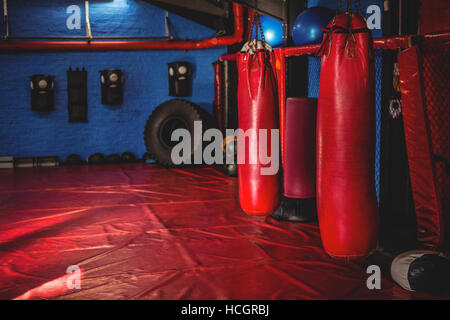 Punching bags in fitness studio - Stock Photo