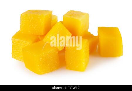mango cube slices isolated on the white background. - Stock Photo