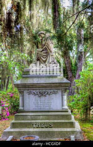 Statue of Eliza Wilhelmina Theus in historic Bonaventure Cemetery, Savannah, Georgia USA - Stock Photo