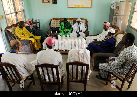 BURKINA FASO Dori, dialogue Christianity and Islam, invitation of new appointed Imam by catholic priests at diocese - Stock Photo