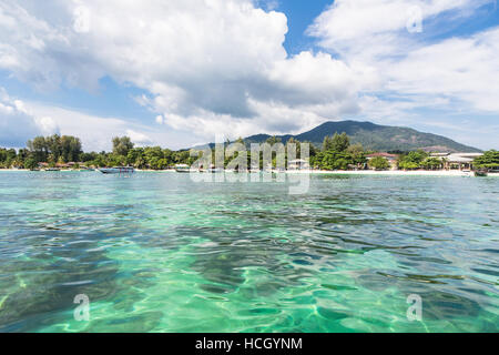 Very clear water in front of Koh Lipe island in the Andaman sea in south Thailand - Stock Photo