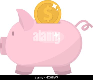 Piggy bank icon, flat design. Pig moneybox isolated on white background. Vector illustration, clip art. - Stock Photo