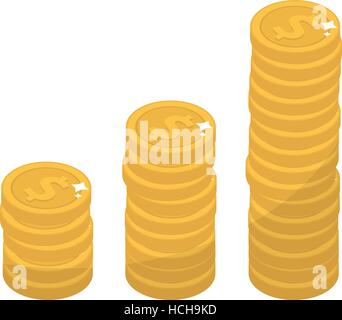Coin stacks, flat design. Gold coins increase up, cent, isolated on white background. Evolution income. Vector illustration, - Stock Photo