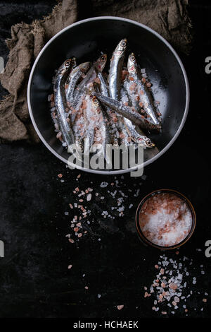 Lot of raw fresh anchovies fishes in black ceramic bowl with pink and sea salt over black metal background. Top - Stock Photo