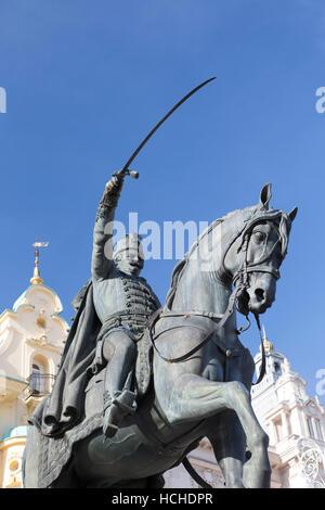 Croatia, Zagreb, equestrian statue of Count Josip Jelacic (1801-59) in the main square - Trg bana Jelacica. - Stock Photo