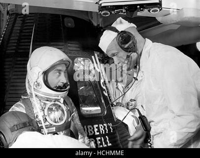 Astronaut Virgil Grissom chats with Astronaut John Glenn prior to entering the Liberty Bell 7 capsule for the MR - Stock Photo