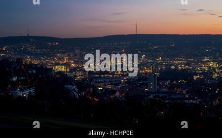 Stuttgart, Germany. 08th Dec, 2016. The first lights come on during the evening blue hour in the city of Stuttgart, - Stock Photo