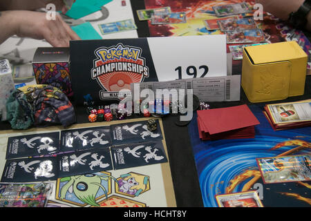 London UK. 9th December 2016. Competitors take part in the Pokémon International European championships at the Excel - Stock Photo